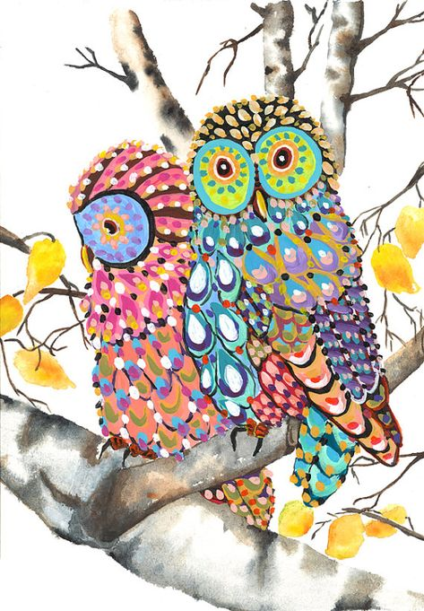 Owls on a Birch tree print of an original whimsical owl painting 8 x