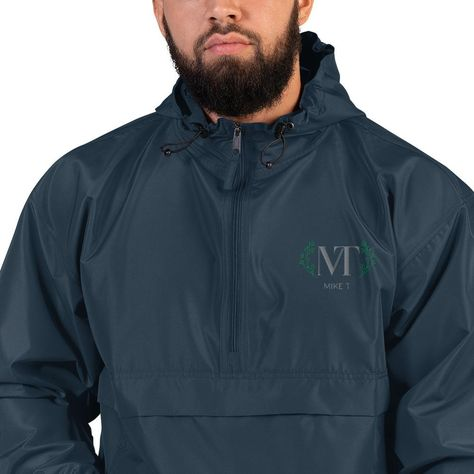 MT Embroidered Champion Packable Jacket - Navy / M