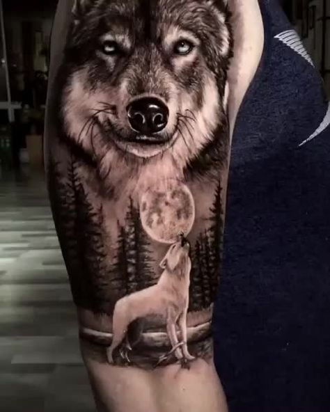🐺 🙏🏻⚡👏 Wolf & Moon Artist: @kevink5 ——————————————————————— ⚜️FOLLOW⚜️ @skingiants for daily tattoos! Sharing only the best tattoos Artists on instagram —————————————————————— #realismtattoo #blackandgreytattoo #skingiants #tattooist #tattoolove #tattooed #tattoosleeve #tattoodesign #tattoolover #tattooworld #tattoosofinstagram #tattoolovers #tattooarm #inked #tat #tats
