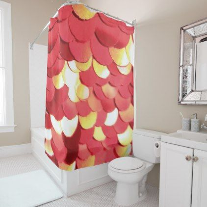 Photo Sparkly Red And Gold Sequins Shower Curtain Zazzle Com