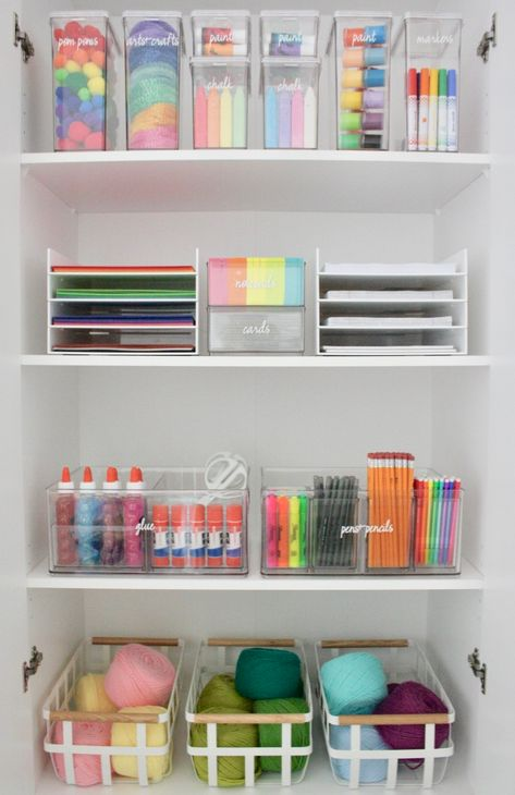How To Simplify Your Kid's School Projects - The Home Edit school room ideas School Room Organization, Craft Organization, Organizing Ideas, Kids Craft Storage, Bathroom Organization, Cleaning Supply Organization, Playroom Organisation, School Supply Storage, Stationary Organization