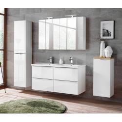 Bad Set Mit Doppel Keramik Waschtisch Und 2 Spiegelschranken Toskana 56 Hochglanz Weiss Wotaneiche Bx Bad Set Bad Doppelwaschtisch Waschtisch