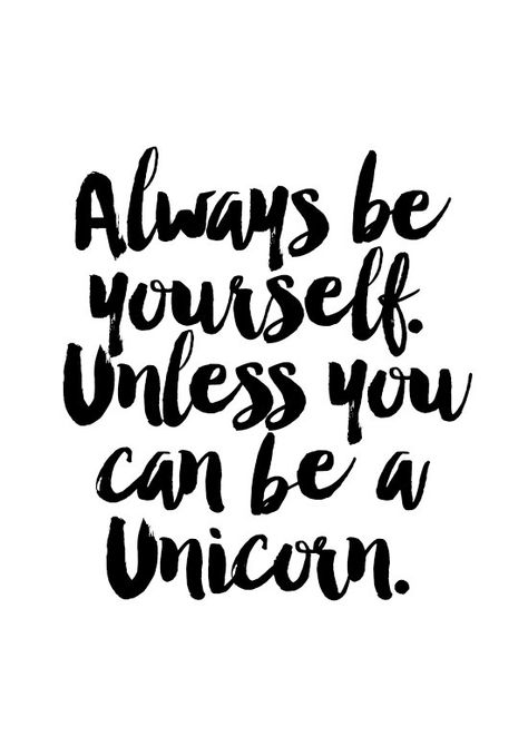 Unicorn Print, Handwritten Quotes, Typography Poster, wall decor, black and white, minimalist art, a