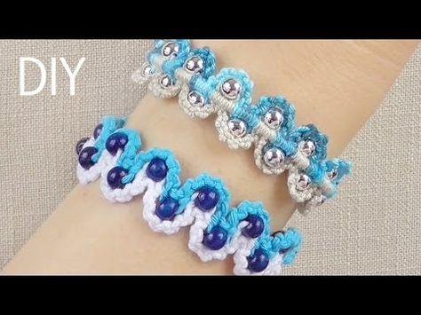 DIY Macrame Bracelets - Waves with Beads - YouTube