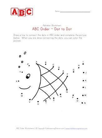 Fish Abc Dot To Dot Worksheet Abc Order Worksheet Abc Order Dot Worksheets
