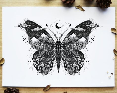 My shop is now open again and I have listed a few new prints too. This nature inspired butterfly is now available as print too🌜previously featured in my 2020 calendar. Butterfly Drawing, Butterfly Tattoo Designs, Butterfly Mandala Tattoo, Butterfly With Flowers Tattoo, Simple Butterfly, Ink Illustrations, Pen Art, Piercing Tattoo, Tattoo Drawings
