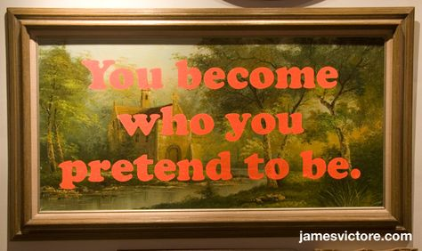 """You become who you pretend to be.  55""""x31"""" (Screen print on painting)  $SOLD  #jamesvictore"""