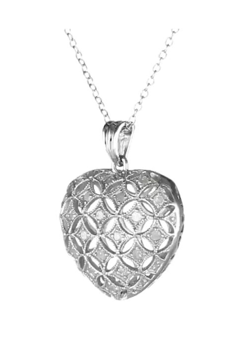 Sterling Silver Diamond Heart Pendant Necklace .5 Cttw, H-I Color, I3 Clarity 18