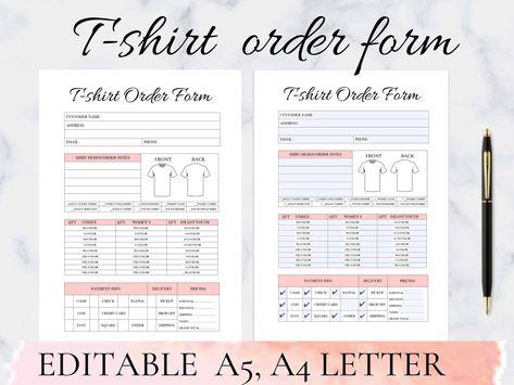 Tshirt Order Form,tshirt order template, tshirt order form editable template, Craft Business Order Form ,Fillable/Editable  A4, A5
