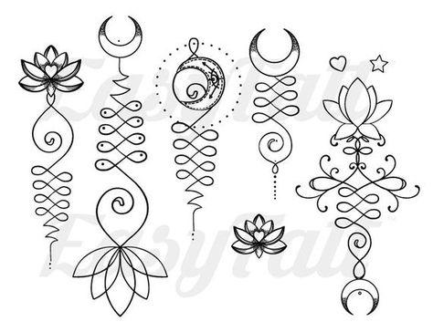 Unalome Temporary Tattoos - Unalome - Lotus Temporary Tattoo - Fake Tattoo - Tattoo - Gift Ideas - W - Tattoo Design