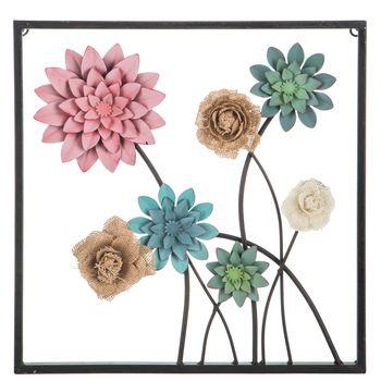 Pink Green Burlap Flowers Metal Wall Decor Wall Decor Metal