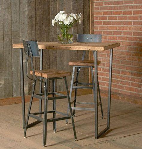Sweet-Tempered Wrought Iron Solid Wood Home Bar Stool Table Modern Minimalist Bar Chair Bar Tables And Chairs Creative High Feet Bar Chair Bar Furniture