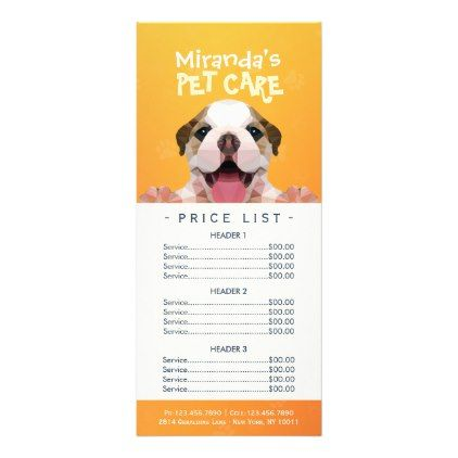 Low Poly Dog Pet Care Grooming Bathing Price List Rack Card Zazzle Com Pet Care Pet Clinic Pet Dogs