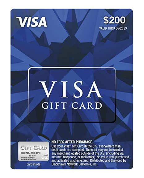 Amazon Com 200 Visa Gift Card Plus 6 95 Purchase Fee Gift Cards Visa Gift Card Macys Gifts Visa Debit Card