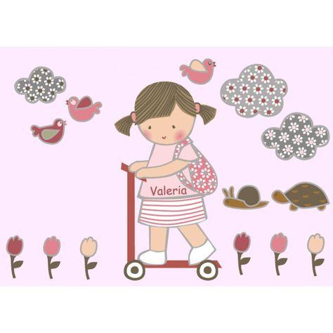 Vinilo infantil: Niño en patinete Vinilos infantiles niño