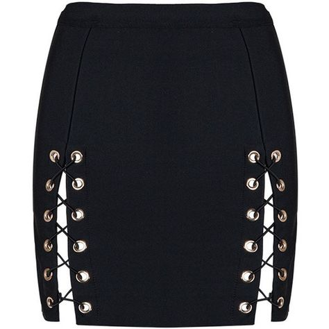 Lace Up Skirt Black Mini Party Club Bandage Skirt