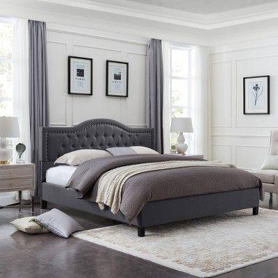 Dante Upholstered Traditional Bed Frame Queen Dark Gray