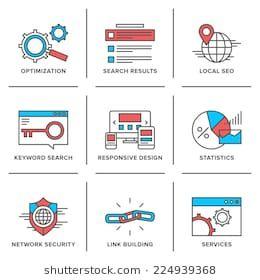 Flat Line Icons Set Of Website Search Engine Optimization Seo Analytics Network Security Keyword Management Webpage Traffic Development Modern Trend Design
