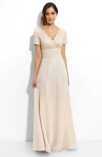 Free shipping and returns on JS Boutique Beaded Lace & Chiffon Gown at Nordstrom.com. Beaded lace fashions the deep surplice V-neck bodice on a short-sleeve gown with a ruched waistline and full chiffon skirt.