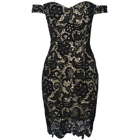 Black Off Shoulder Split Back Lace Bodycon Dress (479.680 IDR) ❤ liked on Polyvore featuring dresses, off shoulder dress, lacy dress, body conscious dress, off the shoulder dress and body con dress