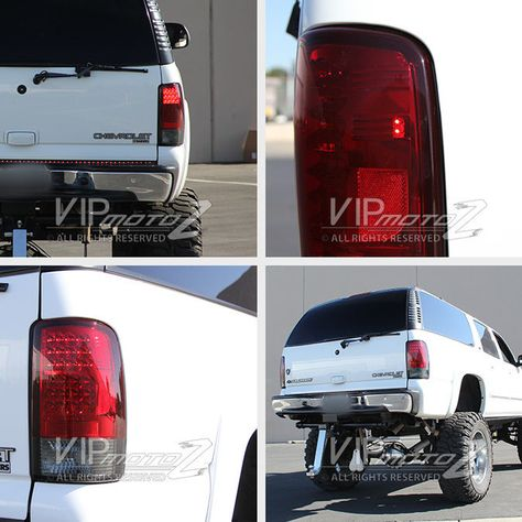 For 00 06 Suburban Yukon Xl Denali Tahoe Led Red Smoke Tail Light Lamp Rear L R Ebay Red Smoke Tail Light Lamp Light