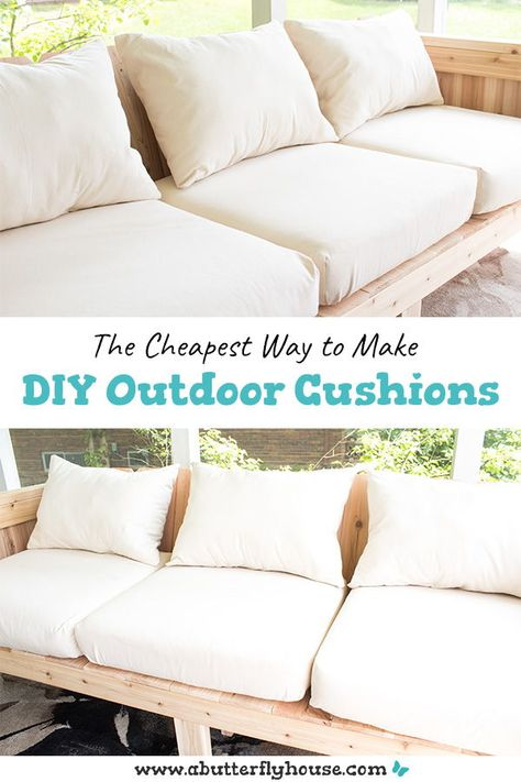 This full, step-by-step tutorial shows you how to make budget-friendly DIY Outdoor Cushions. Some quick waterproof spray means they're weather friendly! Resin Patio Furniture, Patio Furniture Cushions, Diy Outdoor Furniture, Furniture Ideas, Barbie Furniture, Garden Furniture, Furniture Design, Pallet Furniture Cushions, Outdoor Couch Cushions