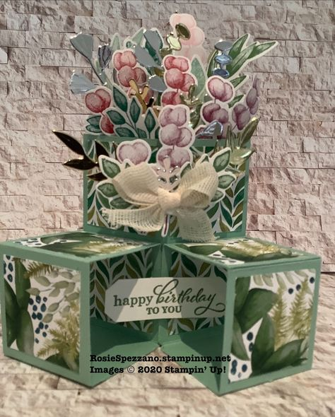 Fancy fold triple cube pop up card using Stampin' up! Forever greenery bundle Fun Fold Cards, 3d Cards, Folded Cards, Stampin Up Cards, Pop Up Greeting Cards, Pop Up Cards, Greeting Cards Handmade, Cubes, Masculine Birthday Cards