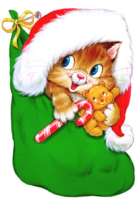 Transparent Christmas Kitten with Candy Cane Clipart