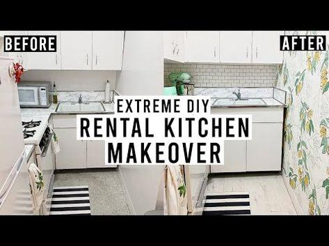 Extreme Diy Rental Kitchen Makeover Peel Stick Backsplash Removable Wallpaper Vinyl Floor Youtub Rental Kitchen Makeover Rental Kitchen Vinyl Flooring