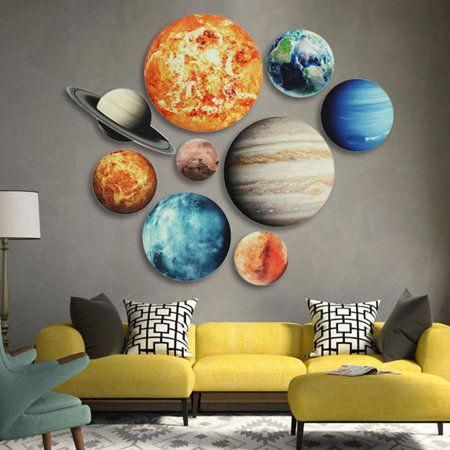 Glow In the Dark Wall Decal Nine Planet Wall Sticker Kids Bedroom Decor