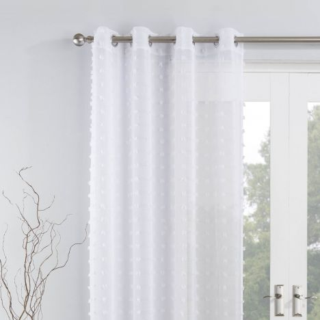 Bali Pom Pom Voile Eyelet Curtain Panel White In 2020 White