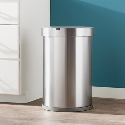 Simplehuman 12 Gallon Semi Round Sensor Trash Can With Liner Pocket Color Trash Can Simplehuman Brushed Stainless Steel