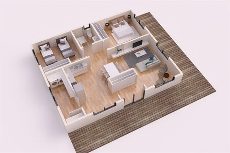 25 More 3 Bedroom 3D Floor Plans 3d, Building and Bedrooms - Plan Maison Sweet Home 3d