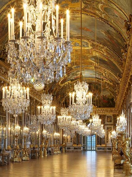 Hall of Mirrors at the Palace of Versailles, part of Louis XIV's third building campaign on the palace in 1678. It uses 357 mirrors in total. Completely gorgeous.
