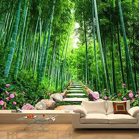 decoración de bambú en la sala de estar LONGYUCHEN Custom 3D Seda Mural Papel Tapiz Planta Paisaje