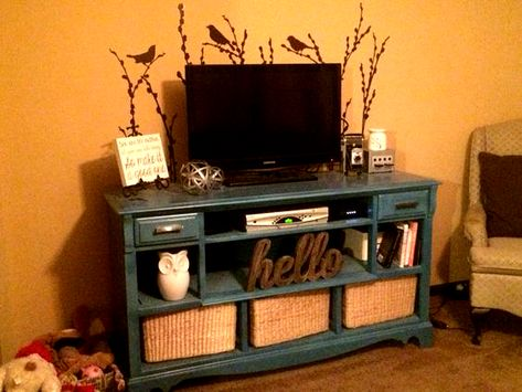 Repurposed old dresser into a entertainment center - The Entertainment #Center #centrodeentretenimientodemadera #dresser #Entertainment #Repurposed