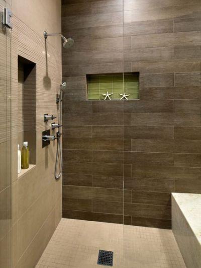 Wood Tile Shower Houzz Wood Tile Shower Tile Shower Niche Modern Shower