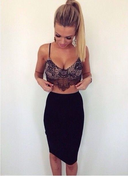 top lace top lace crop bralette skirt outfit lace bralette