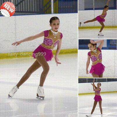 Ice skating dress.wine Competition Figure Skating Baton Twirling custom child 16