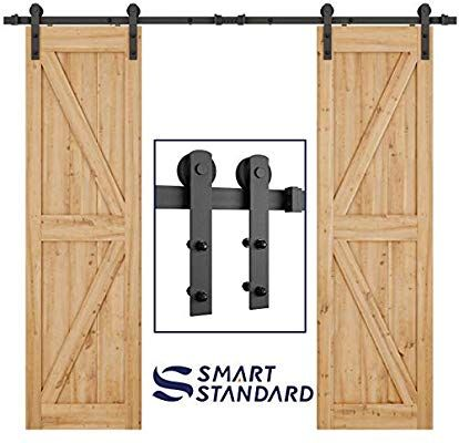 Amazon Com Smartstandard 8ft Heavy Duty Double Door Sliding Barn Door Hardware Kit Smoothly And Q Sliding Door Hardware Barn Door Sliding Barn Door Hardware