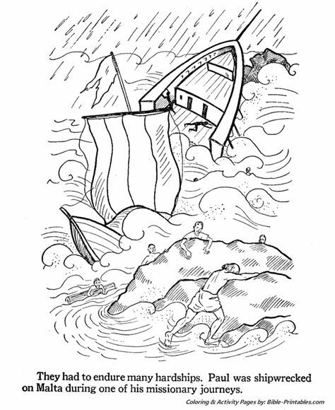 Paul Shipwrecked On Malta Sunday School Coloring Pages Kids