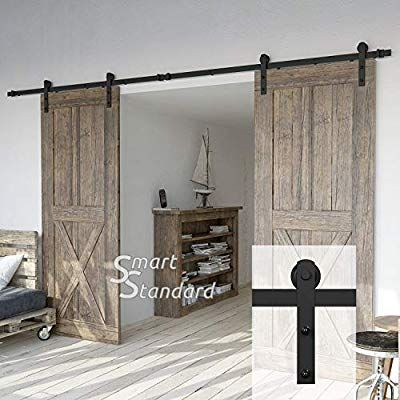 Amazon Com 12ft Double Door Sliding Barn Door Hardware Kit Smoothly And Quietly Simple And Easy To In Barn Door Hardware Barn Door Double Sliding Barn Doors
