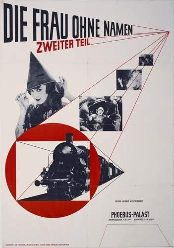 Jan Tschichold - poster for Dir Frau Ohne Namen (1927) Jans work discarding the work for penguin books is very similar to el lissitzky; how they both use black and red as their main colours. They both also have their type on diagonals. Lissitzkys work is also like piet zwarts because they have used the same sort of font for their work.