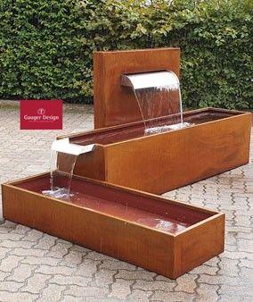Cortenstahlbrunnen By Gauger Design Gartenbrunnen Net Cortenstahl Gartenbrunnen Wasserspiel Garten