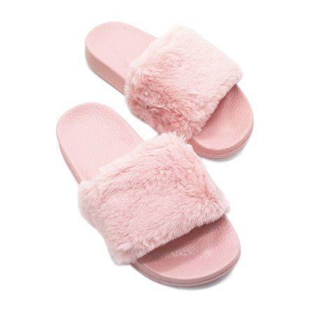 Ladies Fur Sandals Casual Shoes Flats Fluffy Fur  Slider Rubber Sliders Shoes UK