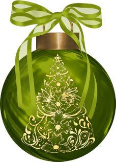 CHRISTMAS GREEN ORNAMENT CLIP ART
