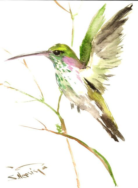 Flying Hummingbird Original watercolor painting 12 by ORIGINALONLY