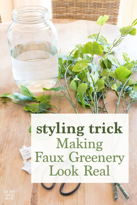 When you use this easy to do trick when decorating with fake branches, flowers and greenery they will appear real. It is so easy to do with whatever fake foliage you already own. #fauxplants #fauxflowers #fauxgreenery #fakeplants #artificialflowers
