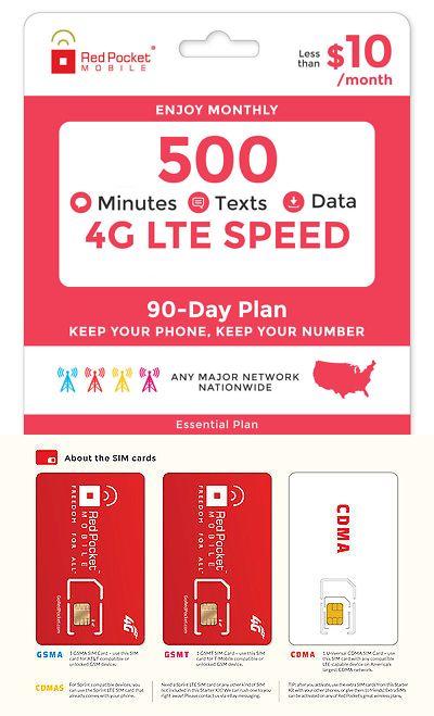 Red Pocket 90 Day Prepaid Wireless Phone Plan Essentials No Contract Sim Phone Plans Prepaid Phones Sim Cards