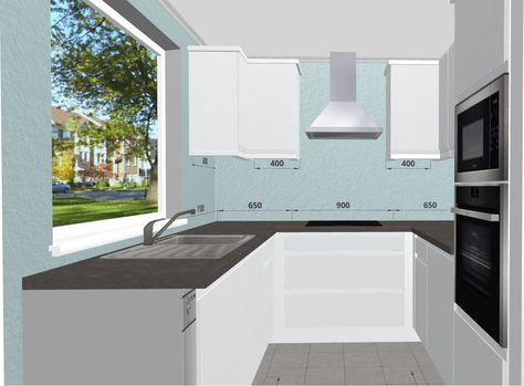 Small Space White Kitchen with Quartz Worktops. Free 3D ...